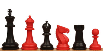 "Guardian Plastic Chess Set Black & Red Pieces - 4"" King"