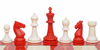 "Guardian Plastic Chess Set Red & Ivory Pieces - 4"" King"