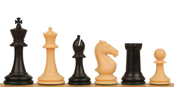 "Protourney Plastic Chess Set Black & Camel Pieces - 3.75"" king"