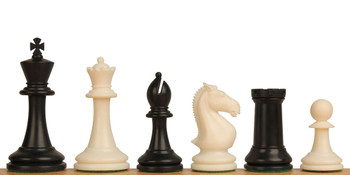 "ProTourney Plastic Chess Set Black & Ivory Pieces - 3.75"" King"
