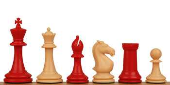 """ProTourney Plastic Chess Set  Red & Camel Pieces - 3.75"""" King"""