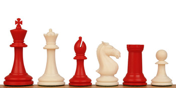 "ProTourney Series Plastic Chess Set Red & Ivory Pieces - 3.75"" King"