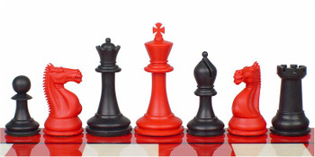 """Rogue Knight Plastic Chess Set Black & Red Pieces - 3.75"""" King"""