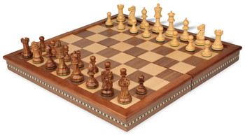 "Parker Staunton Chess Set in Golden Rosewood & Boxwood with Walnut Folding Chess Case - 3.25"" King"