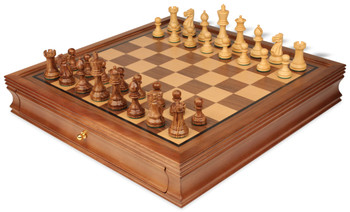 "Parker Staunton Chess Set in Golden Rosewood & Boxwood with Walnut Chess Case - 3.25"" King"