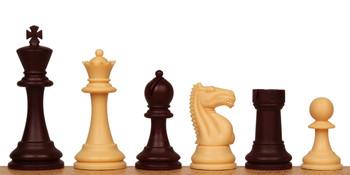 "ClubTourney Plastic Chess Set Burgundy & Camel Pieces - 3.75"" King"