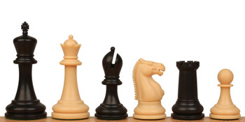 "Zukert Plastic Chess Set Black & Camel Pieces - 4.25"" King"