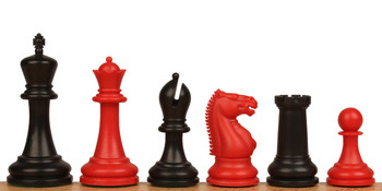 "Zukert Plastic Chess Set Black & Red Pieces - 4.25"" King"