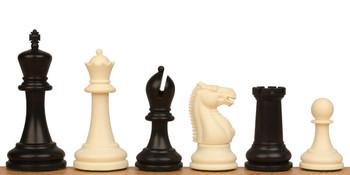 "Zukert Plastic Chess Set Black & Ivory Pieces - 4.25"" King"