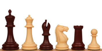 "Zukert Plastic Chess Set Burgundy & Camel Pieces - 4.25"" King"