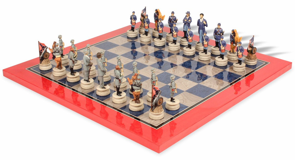Civil war theme chess set deluxe package the chess store - Deluxe chess sets ...