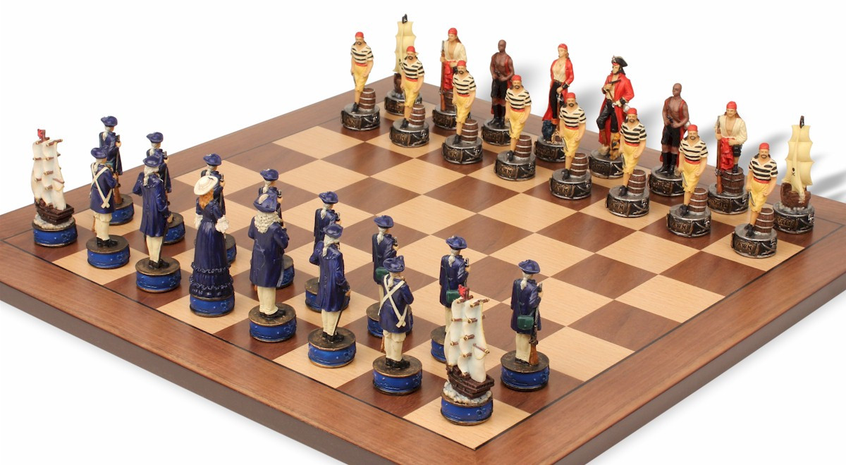Pirates & Royal Navy Theme Chess Set Package - The Chess Store