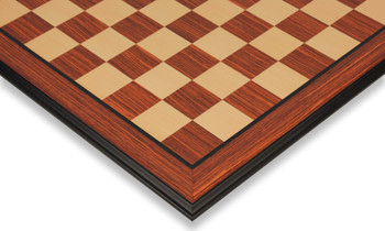 "Rosewood & Maple Molded Edge Chess Board - 1.75"" Squares"
