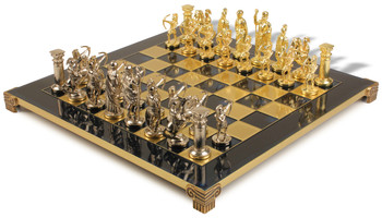 Archers Theme Chess Set  Brass & Nickel Pieces - Blue Board
