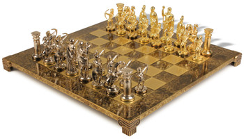 Archers Theme Chess Set Brass & Nickel Pieces - Brown Board