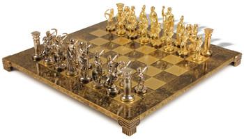 archers theme chess set brass u0026 nickel pieces brown board