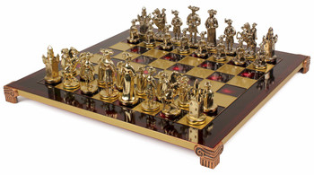 Knights Theme Chess Set Brass & Nickel Pieces - Red Board