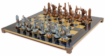 Poseidon Theme Chess Set Antiqued Blue Copper & Copper Pieces - Blue Board