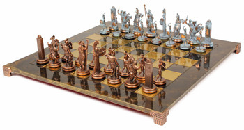 Poseidon Theme Chess Set Antiqued Blue Copper & Copper Pieces - Brown Board