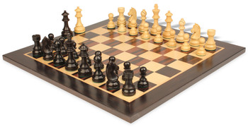 "German Knight Staunton Chess Set in Ebonized Boxwood with Macassar Chess Board- 2.75"" King"