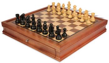 "German Knight Staunton Chess Set in Ebonized Boxwood with Walnut Chess Case - 3.25"" King"