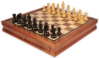 "German Knight Staunton Chess Set in Ebonized Boxwood with Walnut Chess Case - 3.75"" King"