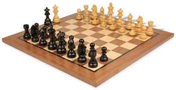 "German Knight Staunton Chess Set Ebonized & Boxwood Pieces with Classic Walnut Chess Board - 3.75"" King"