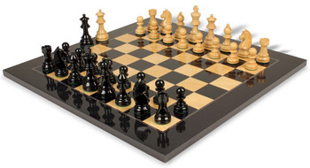 "German Knight Staunton Chess Set in High Gloss Black & Natural with Black & Ash Burl Chess Board - 3.25"" King"