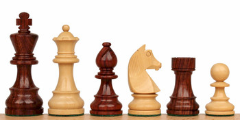 "German Knight Staunton Chess Set in Rosewood & Boxwood - 3.25"" King"