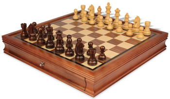 """German Knight Staunton Chess Set in Rosewood & Boxwood with Chess Case - 3.75"""" King"""