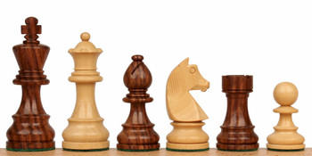 "German Knight Staunton Chess Set in Golden Rosewood & Boxwood - 3.25"" King"