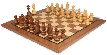 "German Knight Staunton Chess Set in Golden Rosewood & Boxwood with Walnut Chess Board - 3.25"" King"