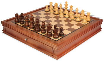 "German Knight Staunton Chess Set in Golden Rosewood & Boxwood with Walnut Chess Case - 3.25"" King"