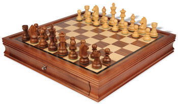 """German Knight Staunton Chess Set in Golden Rosewood & Boxwood with Walnut Chess Case - 3.75"""" King"""