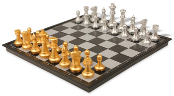 The Chess Store Gold & Silver Folding Magnetic Chess & Checkers Travel Set - 14""