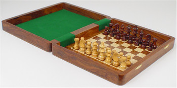"""Magnetic Travel Chess Set with Inside Board - 9"""""""