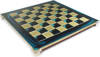 "Brass & Blue Chess Board - 1.75"" Squares"