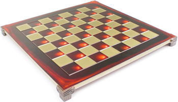 "Brass & Red Chess Board - 1.75"" Squares"