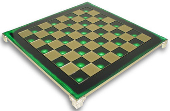 "Brass & Green Chess Board - 2.125"" Squares"