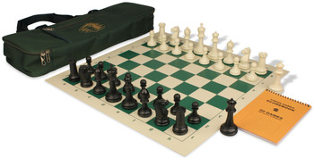 Zukert Series Deluxe Bag Chess Set Package Black & Ivory Pieces - Green