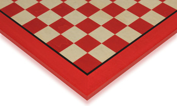 "Tulip Red & Erable High Gloss Deluxe Chess Board - 1.5"" Squares"
