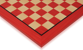 "Tulip Red & Maple High Gloss Deluxe Chess Board - 2.375"" Squares"