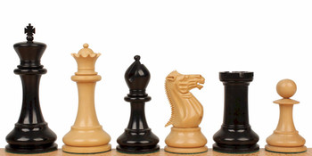 "Ulysses Staunton Chess Set in Ebony & Boxwood - 5"" King"