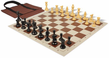 Value Club Easy Carry Chess Set Package Black & Camel Pieces - Brown