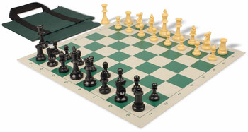 Value Club Easy Carry Chess Set Package Black & Camel Pieces - Green