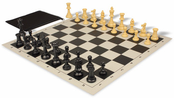 Value Club Classroom Chess Set Package Black & Camel Pieces - Black