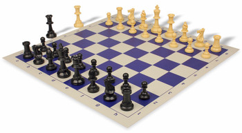 Value Club Plastic Chess Set & Board with Black & Camel Pieces - Blue
