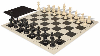Value Club Classroom Chess Set Package Black & Ivory Pieces - Black