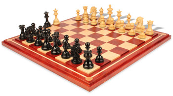"Wellington Staunton Chess Set in Ebony & Boxwood with Maple Solid Wood Chess Board - 4.25"" King"