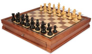 "Fierce Knight Staunton Chess Set in Ebonized Boxwood & Boxwood with Walnut Chess Case - 3.5"" King"
